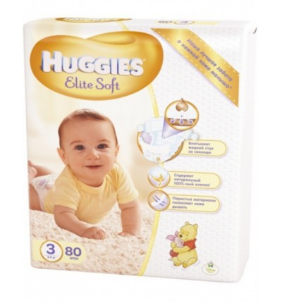 Подгузники Huggies Elite Soft 3 (5-9 кг) Mega Pack, 80 шт.