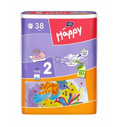 Подгузники Bella Happy Mini 2 (3-6 кг) 38 шт.