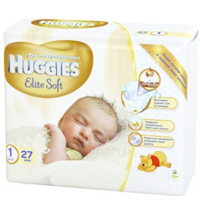 Подгузники Huggies Elite Soft Newborn 1 (до 5 кг) Small Pack, 27 шт.